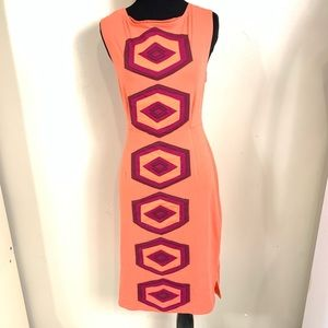 SYNERGY ORANGE AND PURPLE ORGANIC DRESS SIZE M